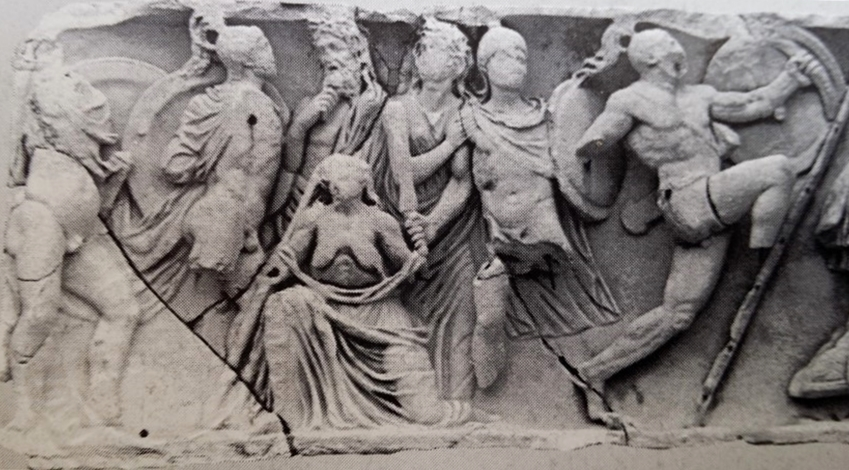 Rilievo marmoreo con Eteocle, Polinice, Giocasta, Creonte e Antigone, sarcofago attico da Villa Doria Pamphilj