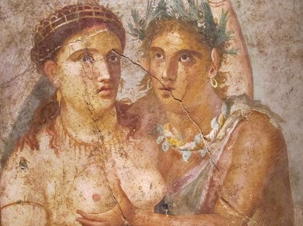 Satiro e baccante, affresco dalla Casa di Lucio Cecilio Giocondo, Pompei, I° sec. d.C., Museo Archeologico Nazionale di Napoli