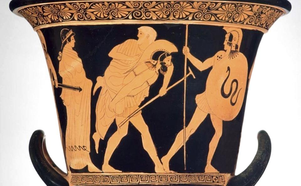 Enea in fuga da Troia porta sulle spalle il padre Anchise, vaso attico, V sec. a.C.