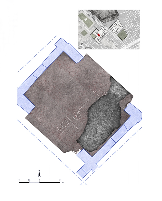 Ambiente della Casa di Orione col disegno del cerchio