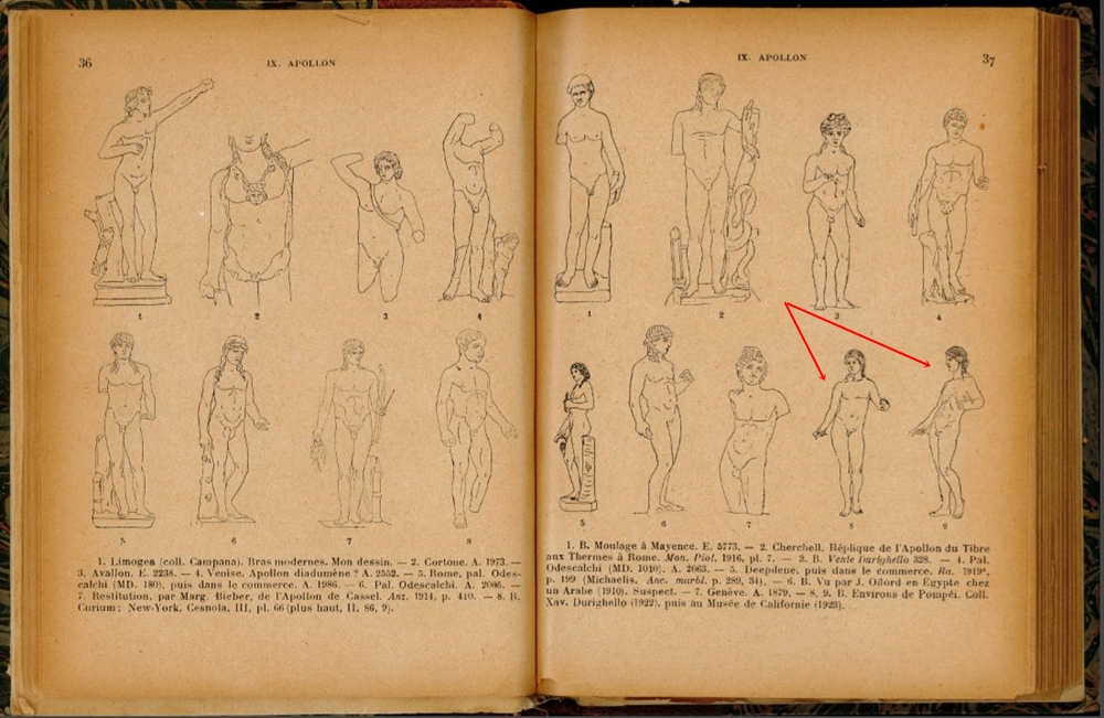 L'Apollo pompeiano pubblicato da Reonach sul suo épertoire de la Statuaire Grecque et Romaine, 1924