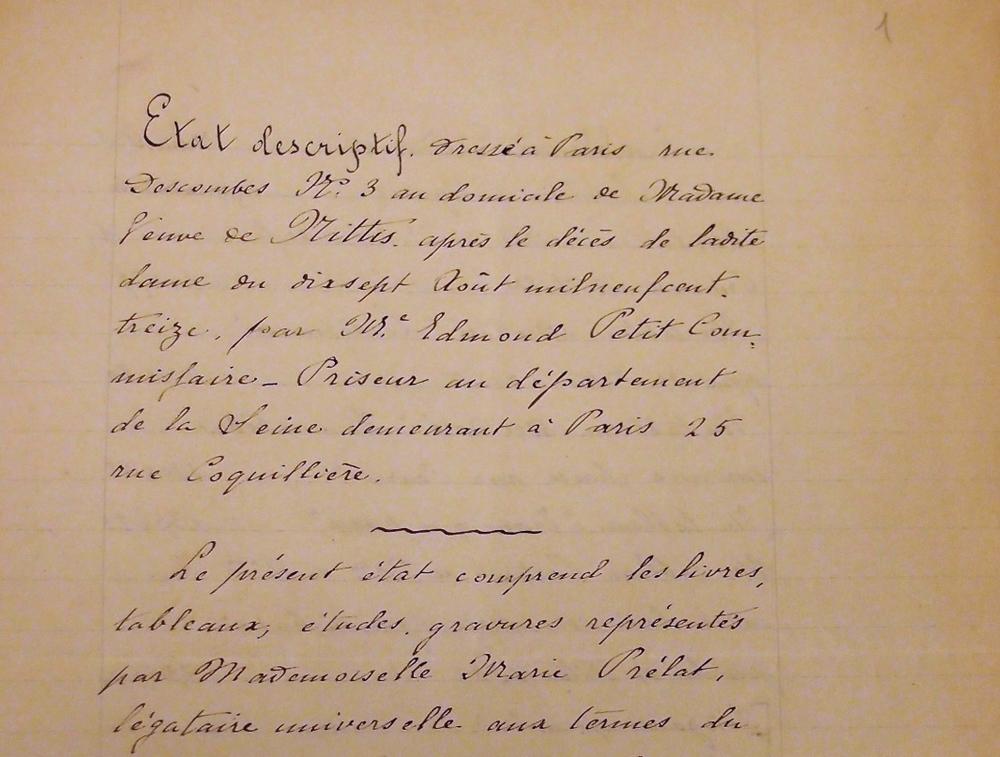 Part. dell'inventario del lascito 'De Nittis', compilato a Parigi