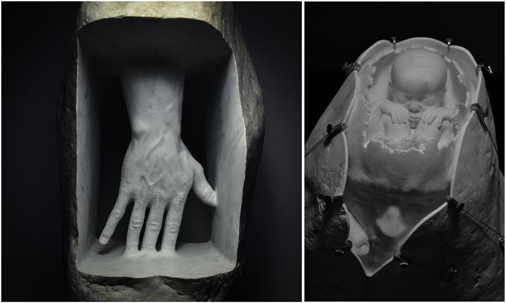 Due opere di Jago: La pelle dentro e Memoria di sè