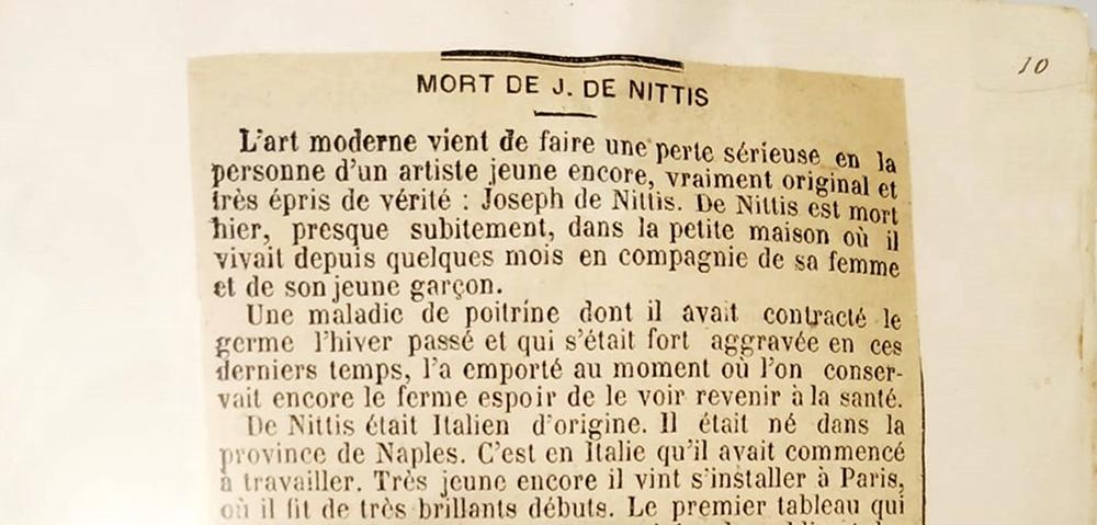 Ritaglio del quotidiano Le Matin Français, dell'agosto 1844, che annuncia la morte di De Nittis, in mostra a Barletta