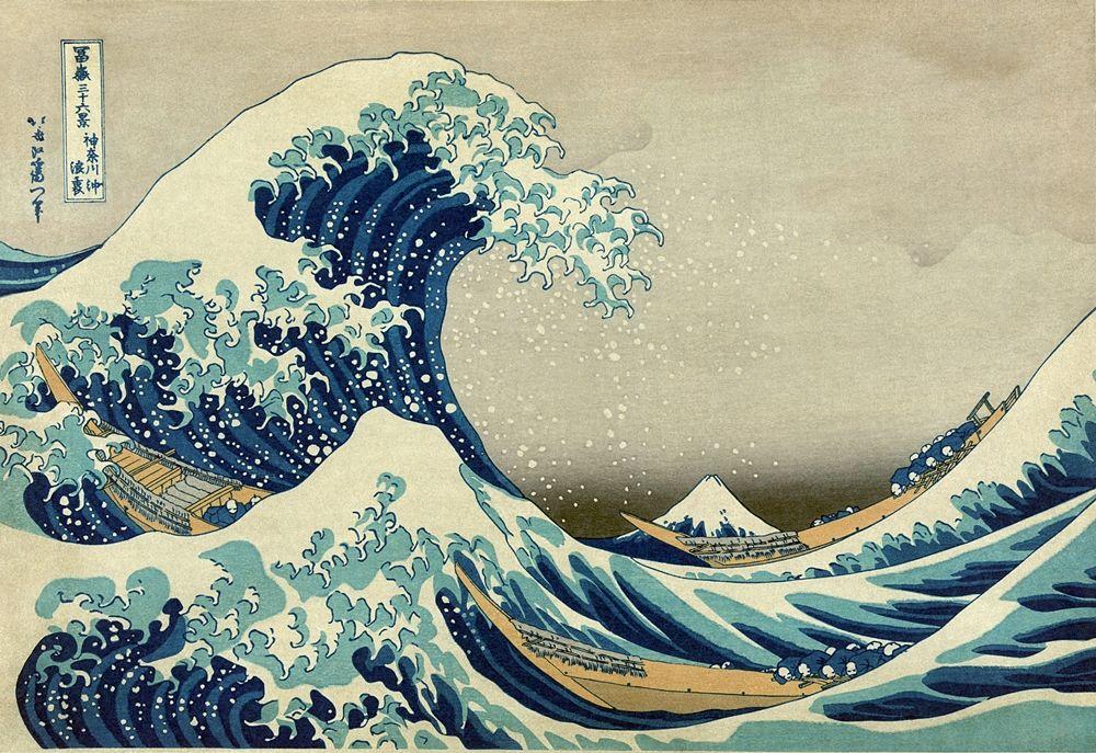 Hokusai, La Grande onda di Kanagawa, xilografia, 1830