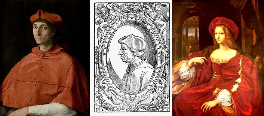 Da sin.: il cardinale Luigi d'Aragona (ritratto ipotetico), il filosofo Agostino Nifo e la Duchessa Giovanna d'Aragona nel dipinto di Raffaello esposto al Louvre