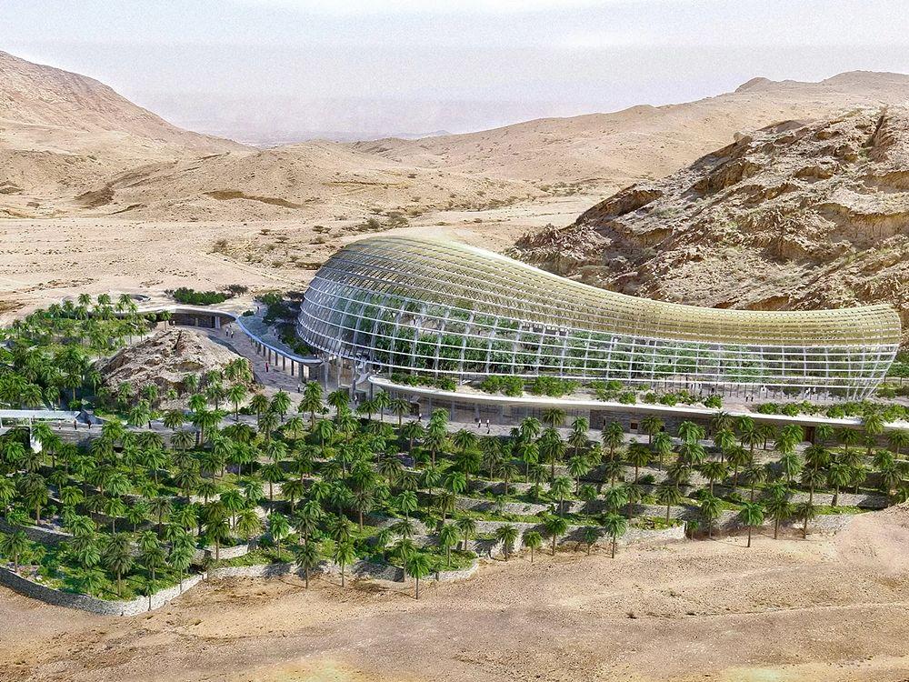 Uno dei rendering dell'Oman Botanic Garden di Muscat