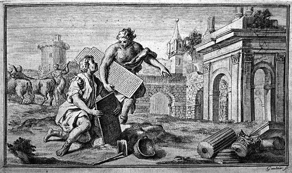 Una ricostruzione ideale del ritrovamento delle Tavole di Eraclea, acquaforte, 1754