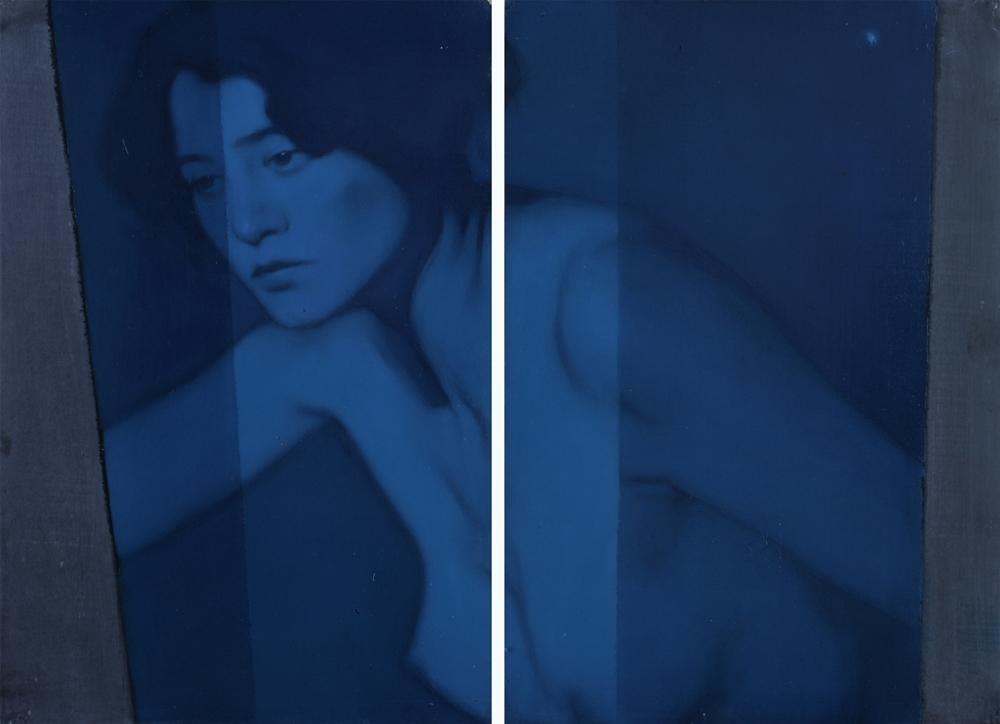 Simone Geraci, Erste, olio su ardesia, 30 x 40 cm, 2018