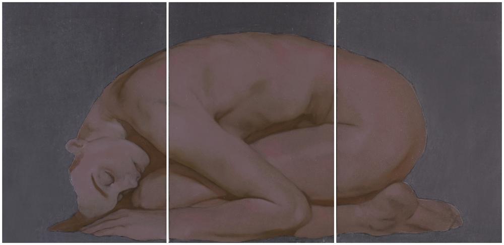 Simone Geraci, In una notte, olio su ardesia 31 x 64 cm, 2020