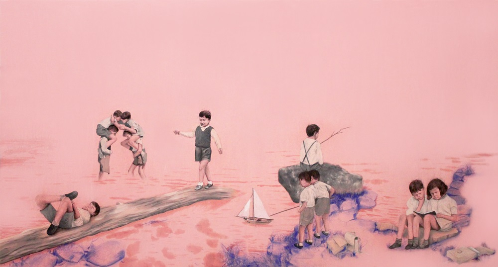 Salvo Rivolo, Perchè questa è l'ora oil and graphite on pink food paper, on wood cm 77x144, 2019