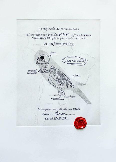 Angelo Gallo, Uccello senza ali, acquaforte con sigillo in ceralacca, 2016