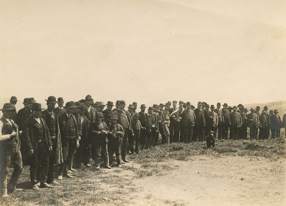 Laval Nugent, Gruppo di uomini, ragazzi e un cane, XIX-XX secolo - Coll. Diciocia