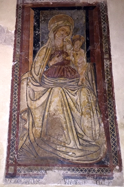 Madonna con Bambino, affresco, XVI sec., Abbazia della Sambucina, Luzzi (Cs)