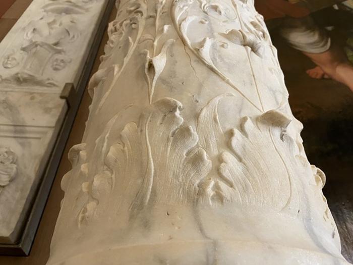 Antonello Gagini, part. di colonna della cornice-altare, XVI secolo, Chiesa di S. Maria dello Spasimo, Palermo