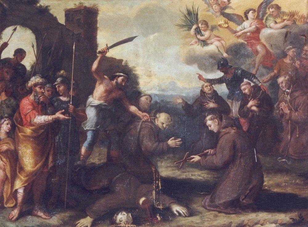 L'eccidio dei francescani calabresi a Ceuta, in Marocco, in un dipinto del XVII secolo