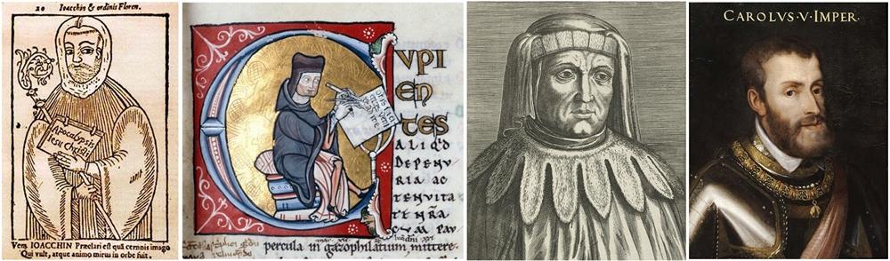 Gioacchino da Fiore, Pietro Lombardo, Francesco Accursio e Carlo V in quattro raffigurazioni d'epoca