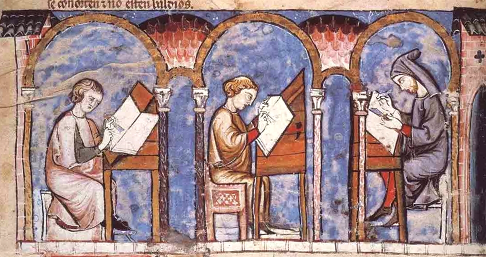 Scena di scriptorium tratta da un codice miniato medievale