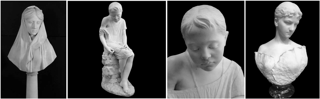Salvatore Albano, Busto femminile, Ragazza che cuce, Ritratto di signora (Coll. private)