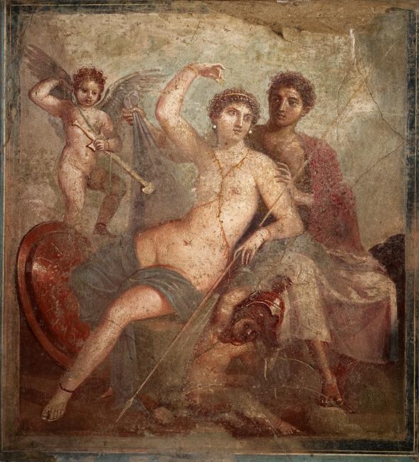 Marte e Venere, affresco da Pompei, I sec. d.C. - Museo Archeologico Nazionale, Napoli