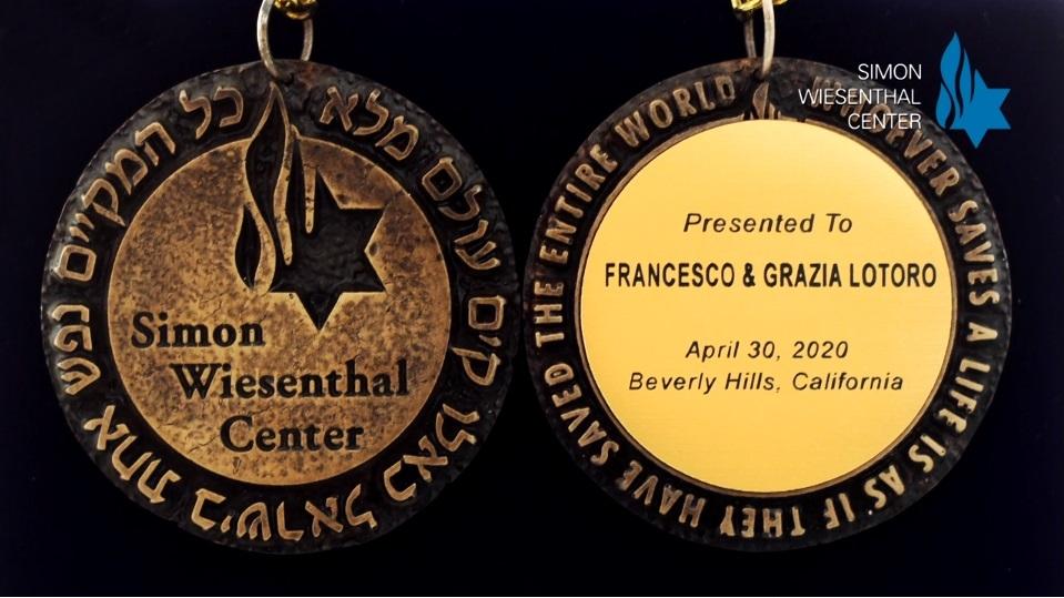 La Medal of Valor del SWC a Francesco Lotoro e Grazia Tiritiello