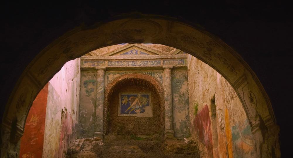 Scorcio di villa pompeiana con dettagli decorativi