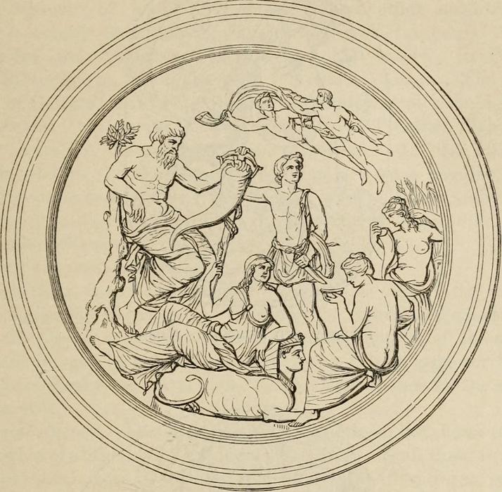 Disegno raffigurante la scena interna della Tazza Farnese - Immagine da
