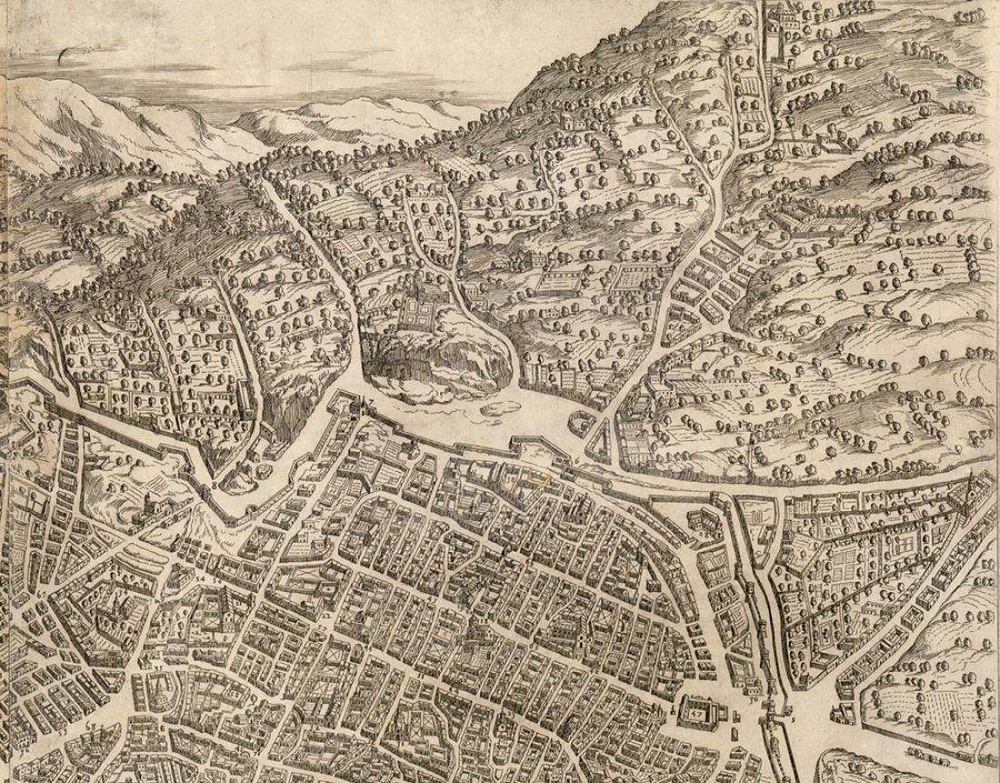 Pert. della veduta di Napoli di A. Lafrery, 1566