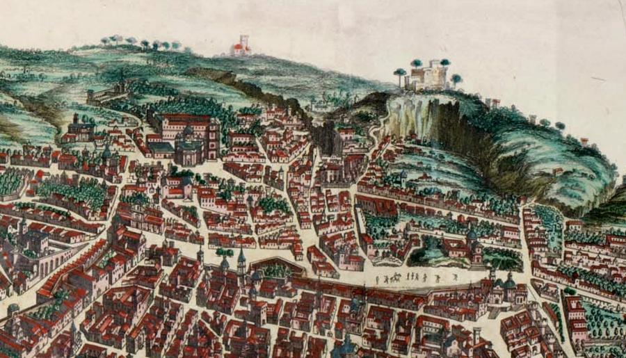 Il Rione Sanità in un part. della Mappa di Napoli di Bastiaen Stopendaal, 1663