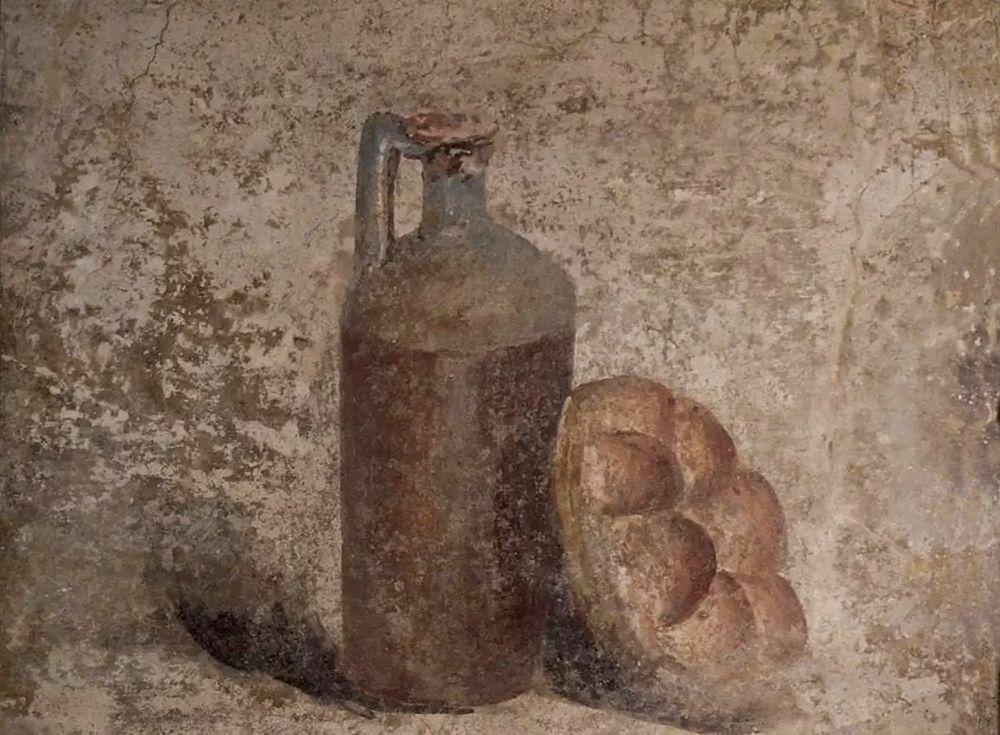 Affresco pompeiano con bottiglia e forma di Panis Quadratus - Image by MANN