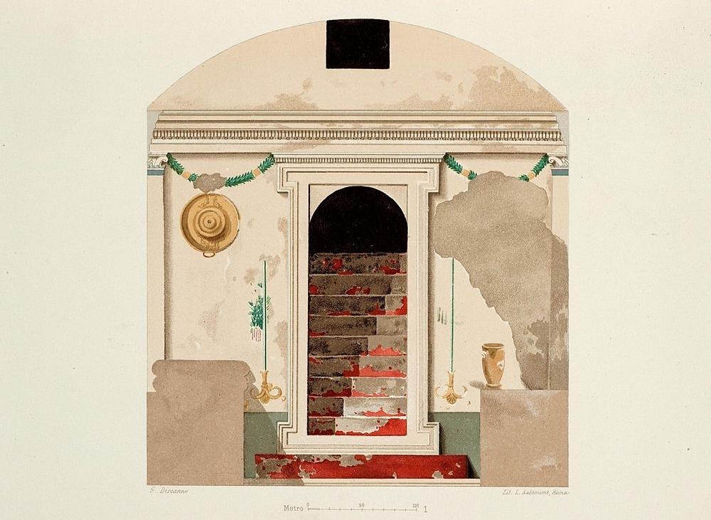 Prospetto dell'accesso all'Ipogeo della Medusa (tav. di G. De Petra, 1898)