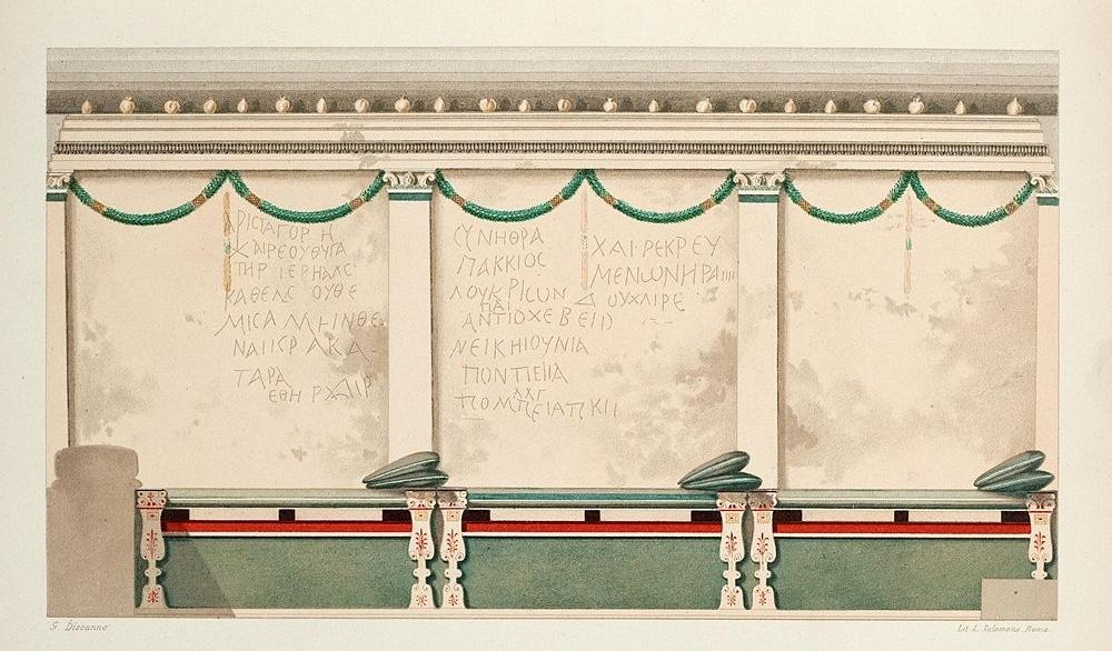 Una delle pareti della camera funeraria della Tomba C o della Medusa (G. De Petra, 1898)