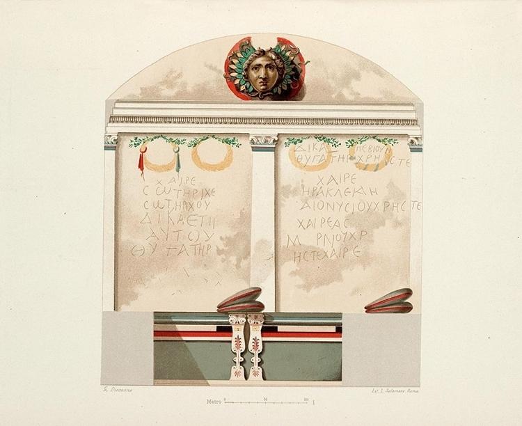 La parete di fondo della camera funeraria con testa di Medusa (G. De Petra, 1898)