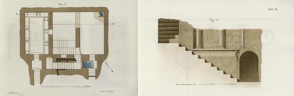 Planimetria e scala di accesso all'ipogeo di Vico Traetta descritto dal Ruggiero