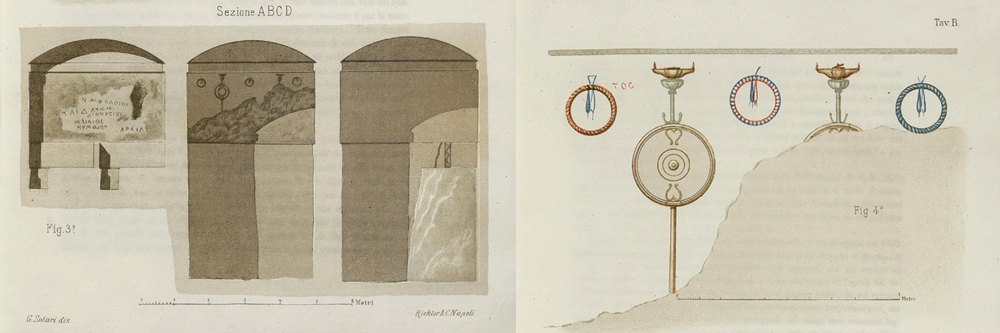 Ambienti con iscrizioni e tracce di affreschi dell'ipogeo descritto dal Ruggiero nell'opera citata, 1888