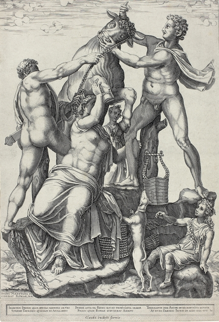 Il Toro Farnese raffigurato in un'incisione  del 1581 firmata Diana Scultori