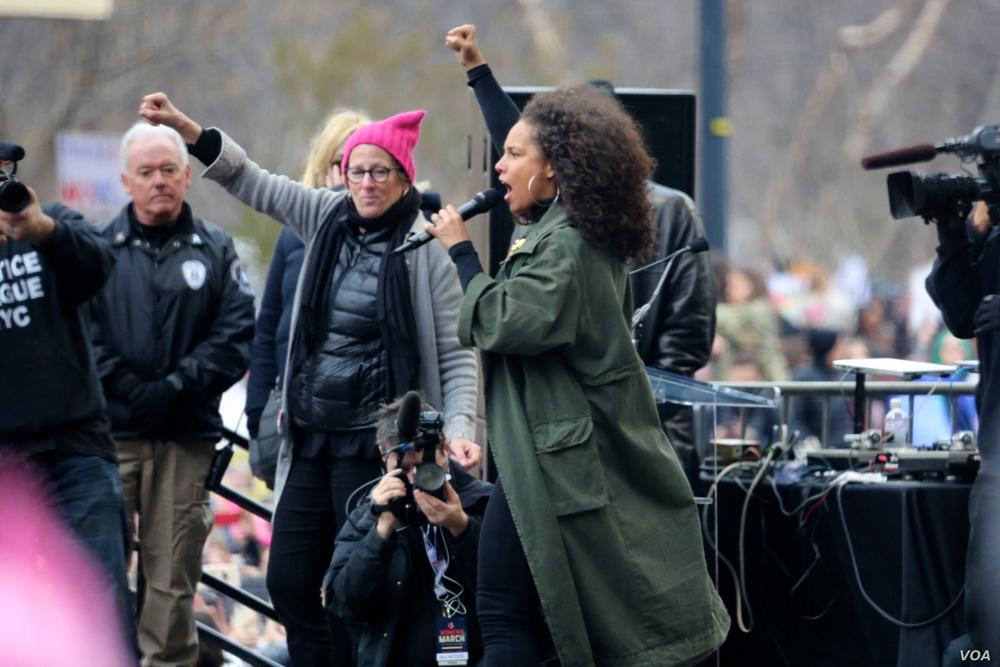 Alicia Keys a Washington durante la Women's March del 2017 | Image source