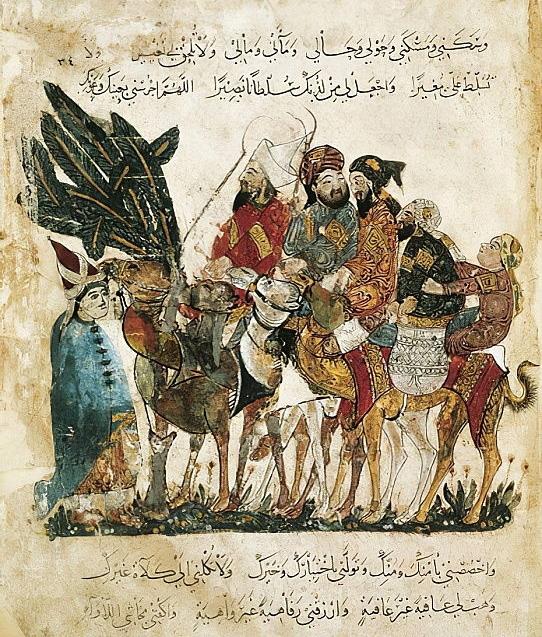 Carovana di mercanti Arabi sulla Via della Seta in un'illustrazione del Maqamat di al-Hariri, di Yahya ibn Mahmud al-Wasiti, XIII sec.