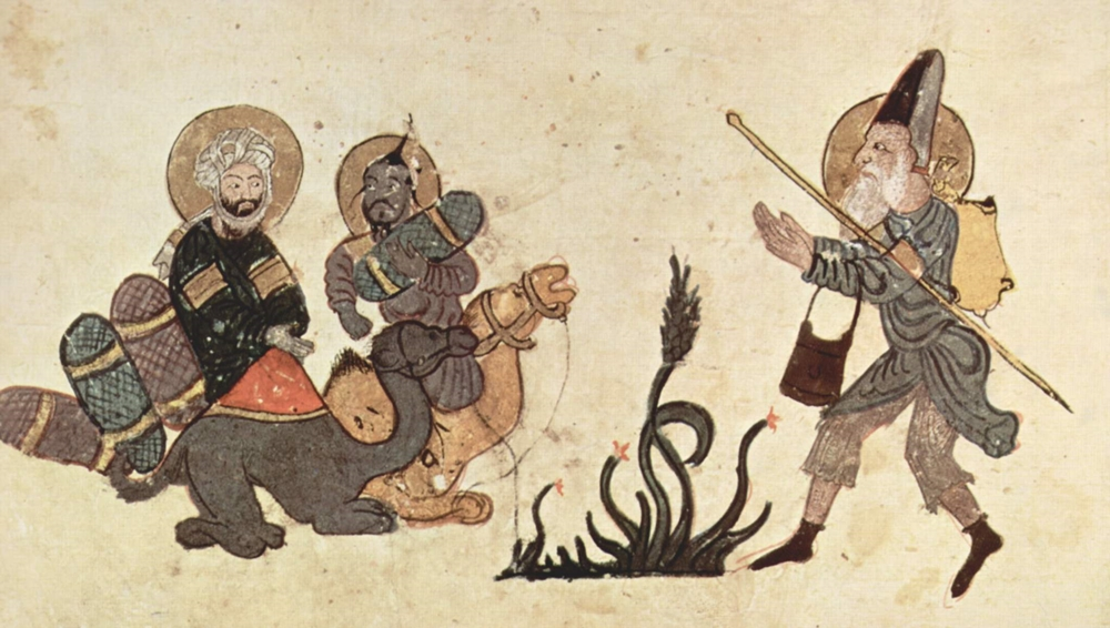 Un mercante arabo (il primo a sinistra) da una illustrazione del Maqamat di al-Hariri, di Yahya ibn Mahmud al-Wasiti, XIII sec.