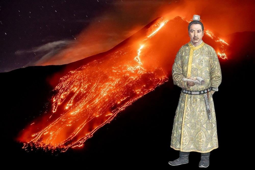 Eruzione dell'Etna (Ph. © Marcello Bianca). Nell'illustrazione, un dignitario cinese della dinastia Song