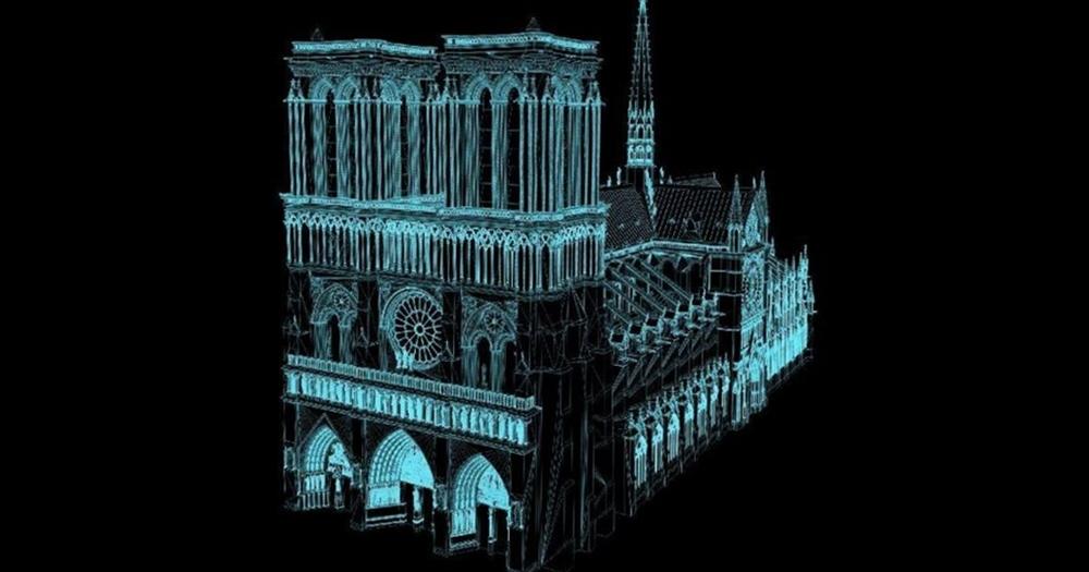 Immagine elaborata in 3D di Notre-Dame ottenuta accorpando dati digitali già disponibili - Image by Livio De Luca/CNRS
