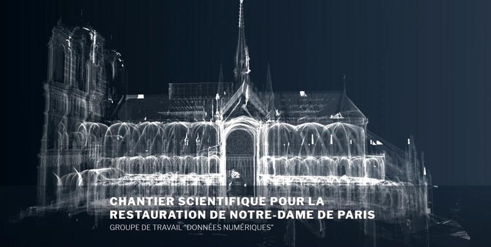 Immagine elaborata in 3D di Notre-Dame ottenuta accorpando dati digitali già disponibili