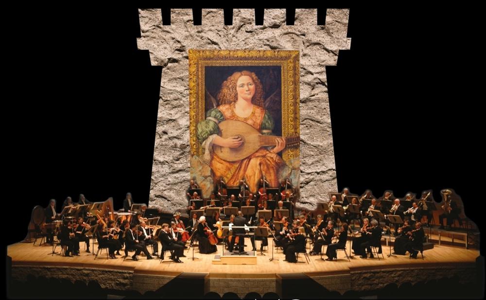 Orchestra del Mediterraneo S. Francesco di Paola. Sullo sfondo un'opera di Costantino di Ciancio.