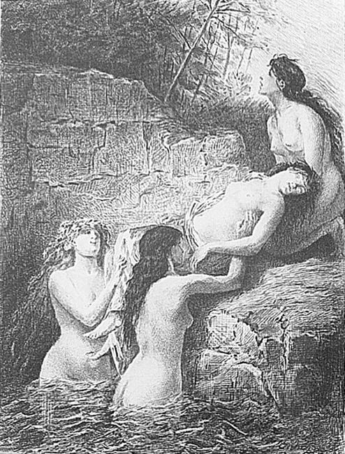 E. Champollion, La Jeune Tarantine, incisione su disegno di M. Bida, XIX sec.