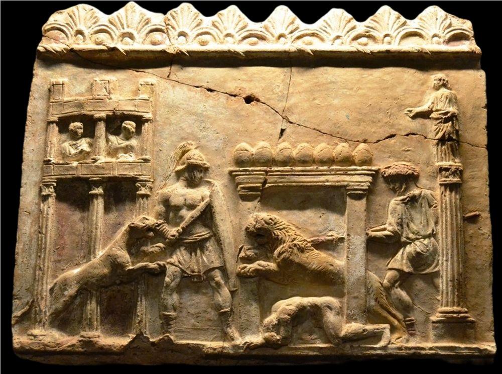Lastra Campana con scena di venatio nel circo, I sec. d.C.