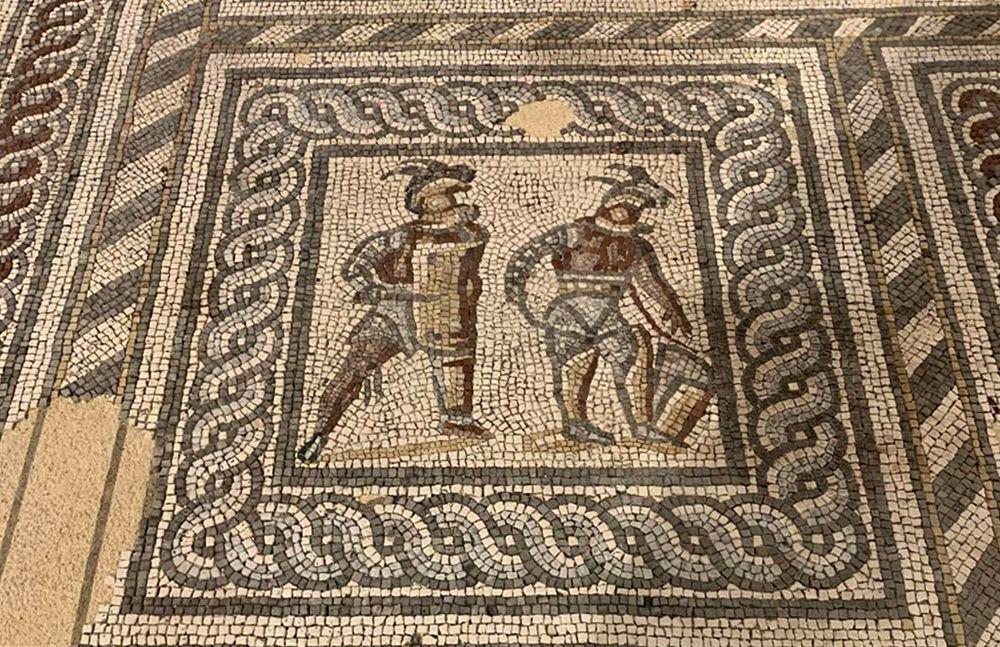 Particolare del pavimento con scena di gladiatori, dal sito di Augusta Raurica, Svizzera