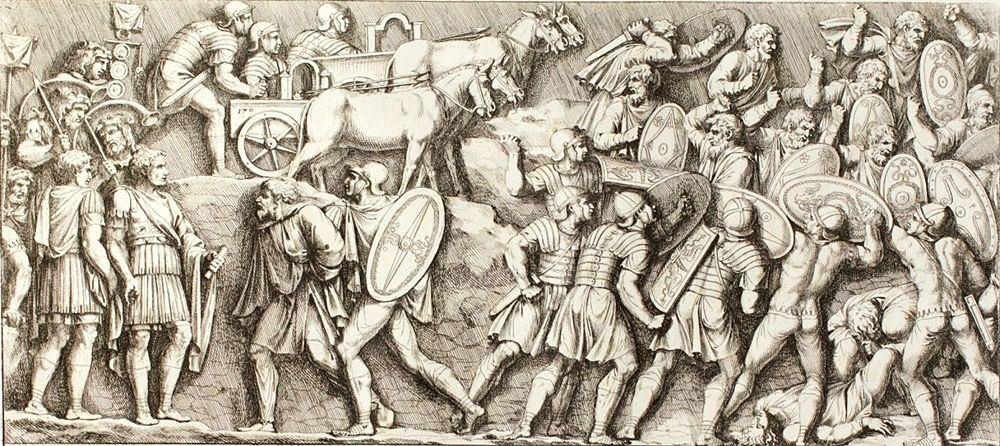 Scena di battaglia, incisione di Pietro Santi Bartoli, 1672