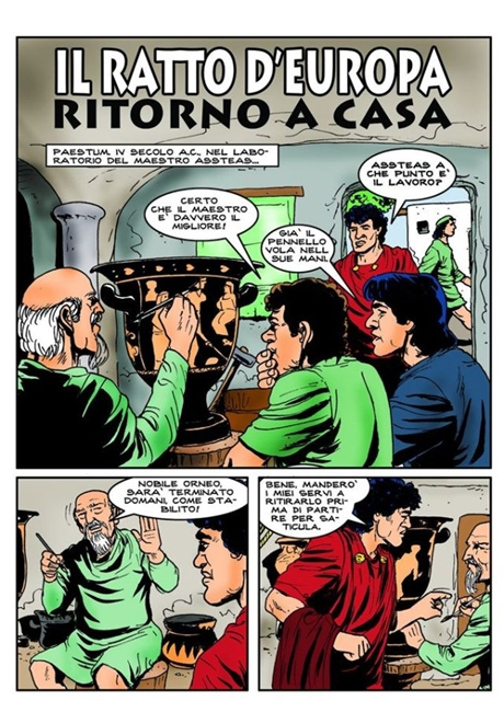 Prima tavola del fumetto sul vaso di Assteas