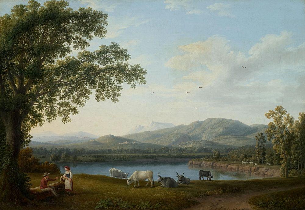 Jacob Philipp Hackert - Veduta del Sele e del Massiccio dei Monti Alburni, 1788