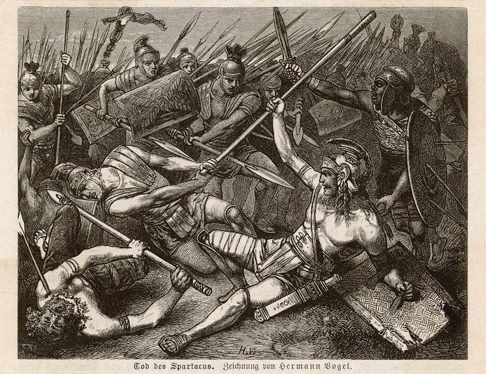 Hermann Vogel, Morte di Spartaco, incisione, XIX sec.
